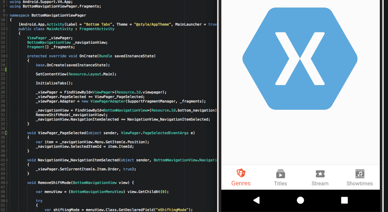 Tutorial: BottomNavigationView and ViewPager in Xamarin